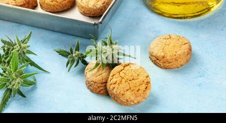 Cannabis butter cookies with marijuana buds and cannaoil, homemade healthy biscuits, close-up panorama on a blue background