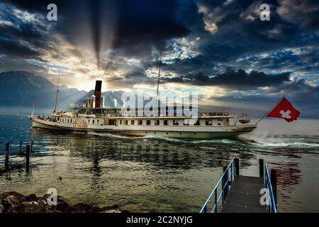 LA SUISSE Paddle Steamer, Lake Geneva, Switzerland - Stock Photo
