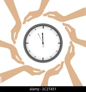 clock in the middle of human hands vector illustration EPS10 - Stock Photo