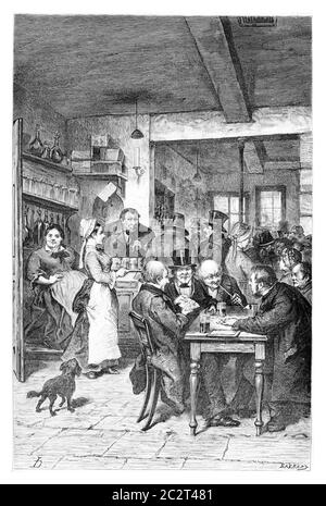 The Tavern in Brussels, Belgium, drawing by Hoese, vintage illustration. Le Tour du Monde, Travel Journal, 1881 - Stock Photo