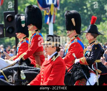 Princess Anne, Princess Royal, and Prince Andrew, on horse in uniform at Trooping The Colour parade, London, UK