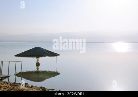 sunrise over Dead Sea, Israel Stock Photo