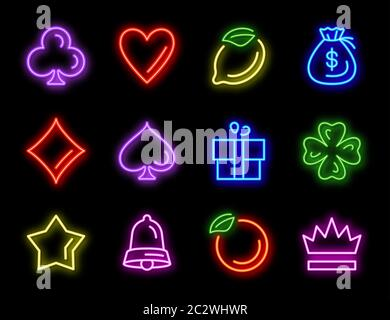 Slot machine neon vector icons for casino gambling on black background. Glowing symbols for slot games, golden star, red heart, crown, money bag and p