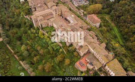 Drone Aerial view of the medieval city Colle di Val d'Elsa Tuscany Italy - Stock Photo