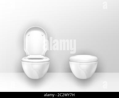 Toilet bowls mounted on wall in WC. Vector realistic interior of empty restroom, modern lavatory with suspended white ceramic toilets with open and cl - Stock Photo