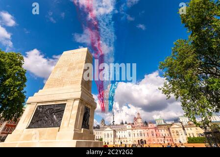 Westminster, London, UK. 18th Jun, 2020. The Royal Air Force Red Arrows and the French Air Force Patrouille de France display teams carried out a flypast over London to honour the 80th anniversary of the 'Appel' speech by Charles de Gaulle which is considered to be the origin of the French Resistance to the German occupation during World War II. The teams passed over Buckingham Palace, St. James's Park and Horse Guards Parade