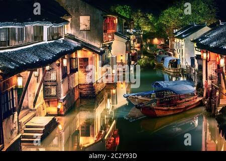 night view of illuminated Zhouzhuang water town, Jiangsu, China