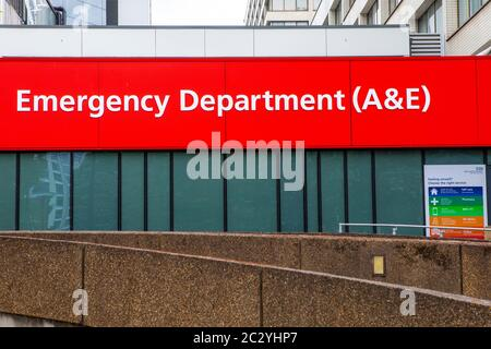 London, UK - June 17th 2020: The Accident and Emergency department at St. Thomas Hospital in London, UK. - Stock Photo