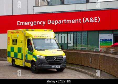 London, UK - June 17th 2020: Ambulance parked up outside the Accident and Emergency department at St. Thomas Hospital in London, UK. - Stock Photo