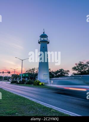 Usa Mississippi Ms Biloxi Sunset On The Gulf Of Mexico Coast Stock