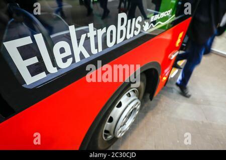 Elektrobus, exhibition stand at the E-world energy water trade fair, Essen, North Rhine-Westphalia, Germany - Stock Photo