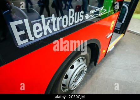 Elektrobus, exhibition stand at the E-world energy water trade fair, Essen, North Rhine-Westphalia, Germany - Stock Photo
