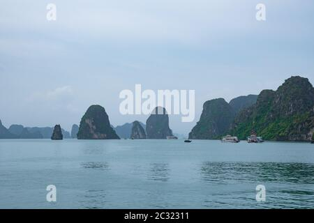 View on HA LONG BAY - a magnificent UNESCO world Heritage and one of New Seven Natural Wonders of the world. Vietnam. - Stock Photo