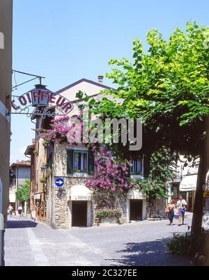 Street scene in Old Town, Sirmione, Lake Garda, Province of Brescia, Lombardy Region, Italy - Stock Photo