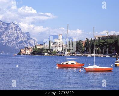 Boats in harbour on Lake Garda, Malcsene, Verona Province, Veneto Region, Italy