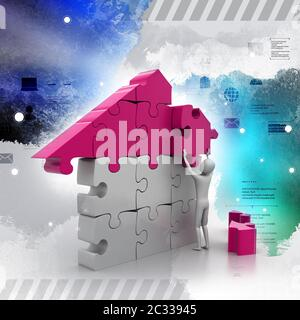 3d man, building the house - Stock Photo