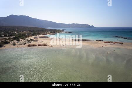 Aerial bird's-eye view from drone on Elafonisi sandy beach on Crete.  Greece. - Stock Photo