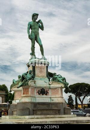 Replica Statue of David on the hillside at Piazzale Michelangelo, overlooks the breathtaking view of the Florence, Tuscany, Italy - Stock Photo