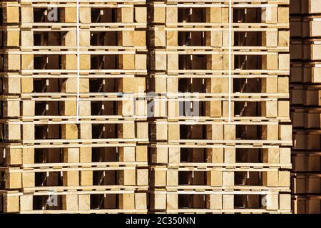 detail of stock wood pallet under sun light . - Stock Photo