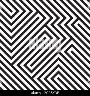 Optical illusion diagonal black and white pattern, modern op art geometric abstract background. Vector illustration Stock Photo