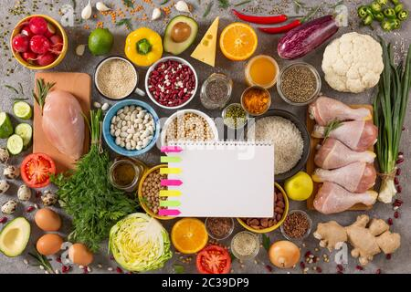 concept diet and balanced nutrition. Set of various products on a gray concrete background, top view - Stock Photo