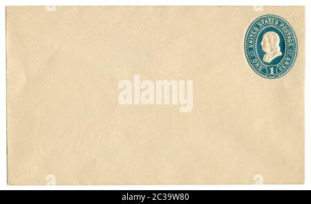 US blanked historical envelope with watermark with blue imprinted One cent stamp with a profile of Benjamin Franklin, The USA, 1892 - Stock Photo