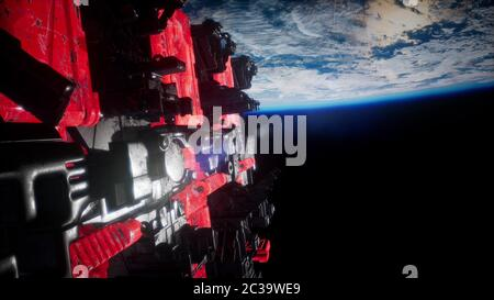 Spaceship with View on Space and Planet Earth - Stock Photo