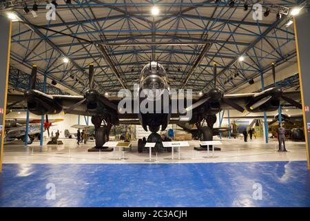 Avro Lancaster R5868 plane / airplane in the Bomber Hall, second world war WWII aircraft on show at RAF Royal Air Force Museum in Hendon, London UK (117) - Stock Photo