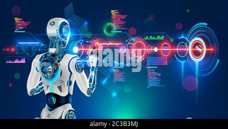 Robot or humanoid cyborg working with abstract tech hologram interface. Futuristic AI in industry 4.0 develops industrial virtual drawings details - Stock Photo