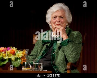 November 16th, 2012 Austin, Texas USA: Former First Lady Barbara Bush, during 'The Enduring Legacies of America's First Ladies' conference at the LBJ Presidential Library  ©MKC / Daemmrich Photos - Stock Photo