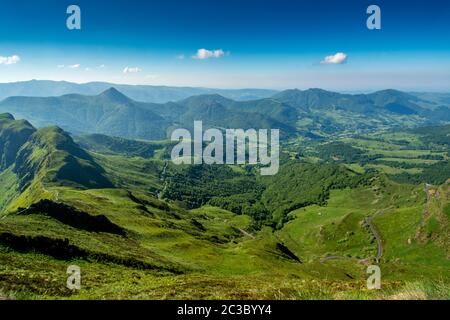 View from the summit of Puy Mary, Auvergne Volcanoes Regional Nature Park,  Cantal, Auvergne-Rhone-Alpes, France