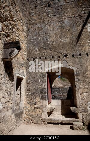 inside Ourem old castle ruins, in the center of Portugal - Stock Photo