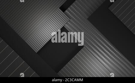 geometric background of different materials, black, carbon fiber and gold colored stripes. 3d render. copyspace. minimal dark-toned image.