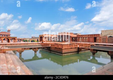 The Ornamental Pool looking towards the Diwan-i-Am (Hall of Public Audiences), Fatehpur Sikri, Agra District, Uttar Pradesh, India