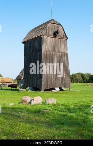 Windmill in skansen in Sierpc, Masovian Voivodeship, Poland - Stock Photo