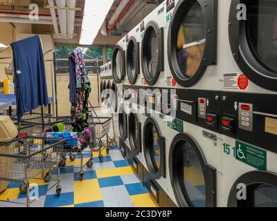 Dryers and carts in a laundry room in New York on Thursday, June 11, 2020. (©Richard B. Levine) - Stock Photo