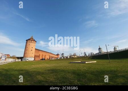 Kolomna, Russia - April 1, 2019: Kolomna kremlin - one of the largest and most powerful fortresses of old times - Stock Photo
