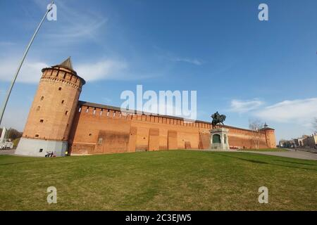 Kolomna, Russia - April 1, 2019: Kolomna kremlin - one of the largest and most powerful ancient fortresses - Stock Photo