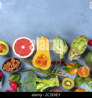 Vegan food overhead square shot. Healthy diet concept. Fruits, vegetables, nuts, shot from above. A flatlay composition with cop - Stock Photo