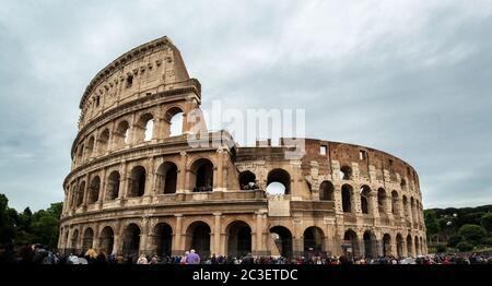 Roman Colosseum (Coliseum), also known as the Flavian Amphitheatre, the largest amphitheatre in the world, Rome, Lazio, Italy