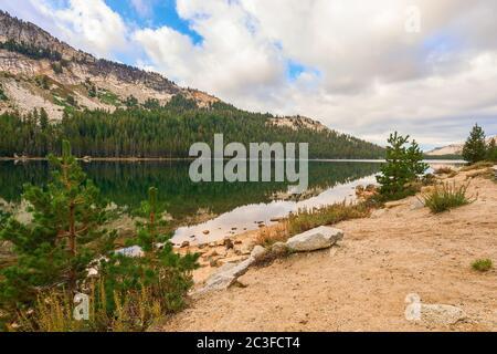 View of alpine Tenaya lake in Yosemite National Park. California.USA