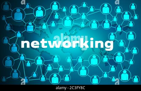 Business networking connections concept with connected people and world map, 3d rendering Stock Photo