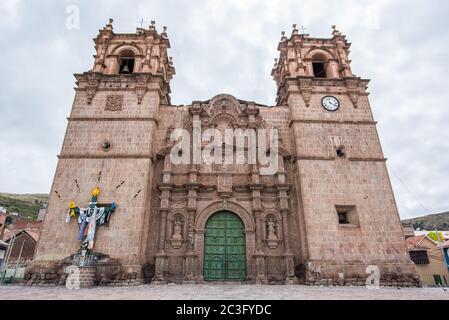 view of Cathedral Basilica of Saint Charles Borromeo in Puno, Peru. - Stock Photo