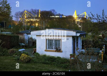 Allotment garden in front of the BVB Stadium Signal Iduna Park, Dortmund, Germany, Europe - Stock Photo