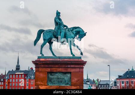 Equestrian statue of king Frederick VIII in Copenhagen, Denmark - Stock Photo