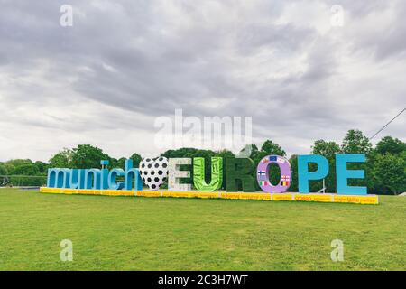 MUNICH, GERMANY - May 01, 2020: The 'Munich loves Europe' banner in Munich's Olympic Park. Welcome sign in preparation for European Football Champions - Stock Photo