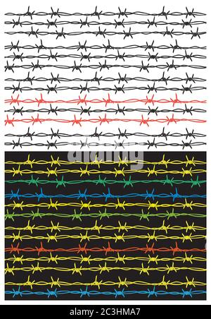 stylized barbed wire in several versions. seamless if needed. can be used as a pattern as a background, etc. - Stock Photo