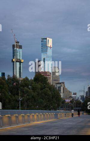 MELBOURNE, AUSTRALIA - 18 October 2019: Partly constructed Australia 108 and Eureka towers from the William Barak Bridge in Melbourne. - Stock Photo