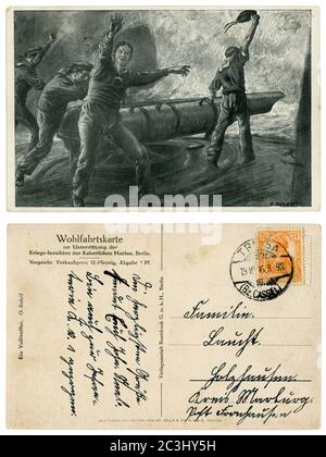 German historical postcard: Navy sailors on Board a warship at the torpedo tube to launch a torpedo. Sea battle, world war one 1914-1918. Germany - Stock Photo