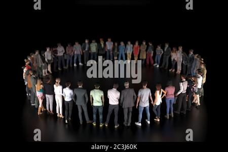 A group of different people stand in a circle isolated on a black background. A social event or public meeting with an empty stage for a performance.